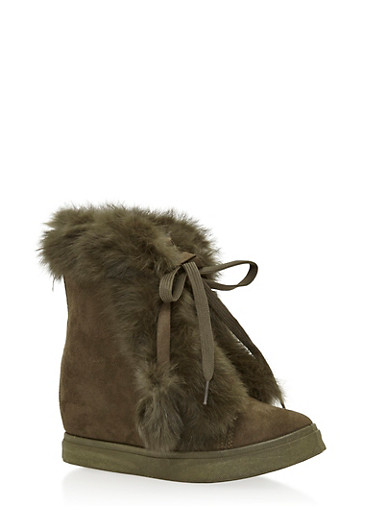 Faux Fur Trim Wedge Booties,GREEN,large