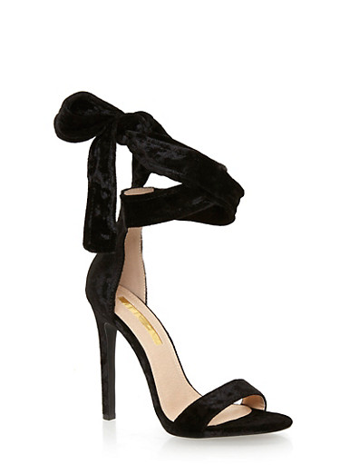 Crushed Velvet Lace Up Ankle Strap High Heel Sandals,BLACK,large