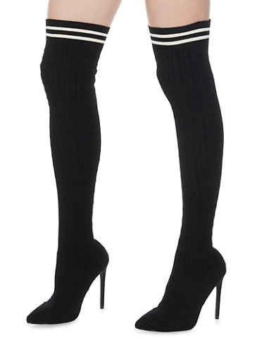 Knit Knee High Boots,BLACK,large