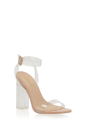 Clear Strap Chunky High Heel Sandals,NUDE,large