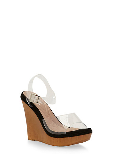 Clear Strap Wedge Sandals with Cushion Soles,BLACK,large