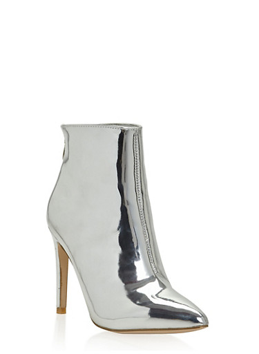 Metallic Pointed Toe High Heel Booties,SILVER,large