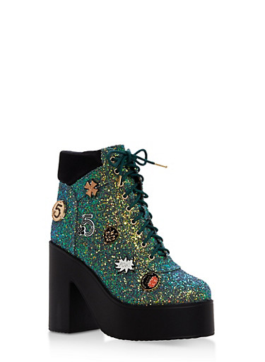 Lace Up Glitter Platform Booties,MERMAID,large