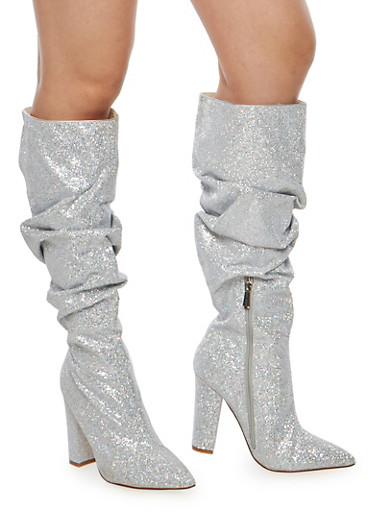 Ruched Glitter High Heel Boots at Rainbow Shops in Jacksonville, FL | Tuggl