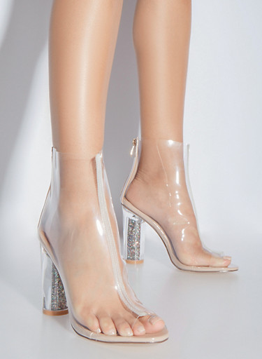 Clear Open Toe High Heeled Booties,TRANSPARENT,large