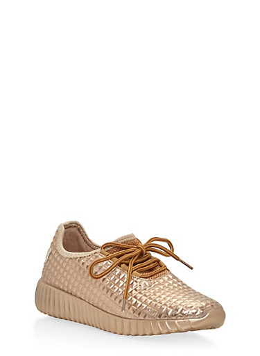 Textuered Lace Up Running Sneakers,ROSE GOLD,large
