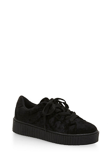 Crushed Velvet Creeper Sneakers,BLACK,large