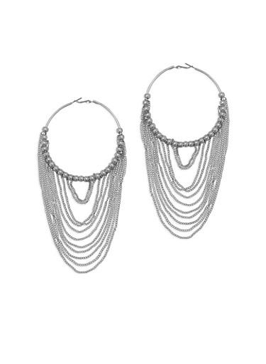Beaded Chain Fringe Hoop Earrings,SILVER,large