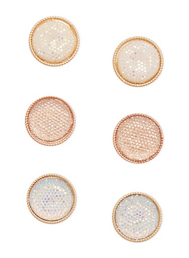 Trio of Large Circle Stud Earrings,GOLD,large