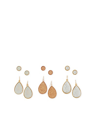 Rhinestone Stud and Teardrop Earrings,GOLD,large