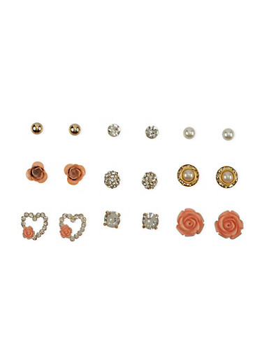 Set of 9 Rose and Crystal Stud Earrings,GOLD,large