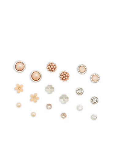 Set of 9 Rhinestone and Faux Pearl Stud Earrings,SILVER,large