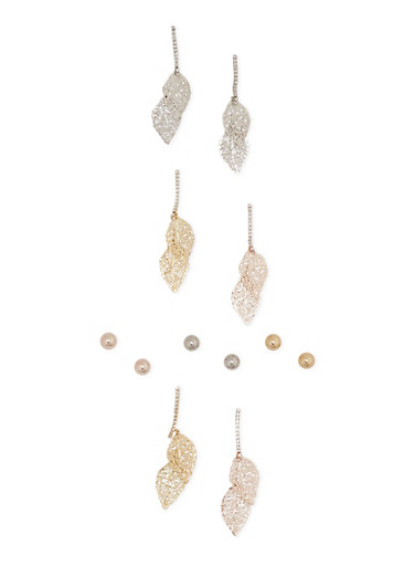 Set of 6 Stud and Leaf Drop Earrings,GOLD,large