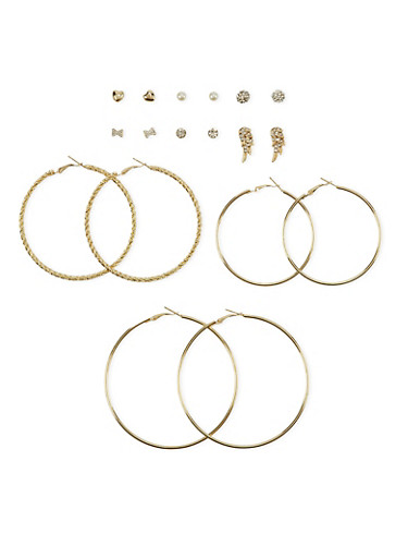 Set of 9 Hoop and Crystal Stud Earrings,GOLD,large