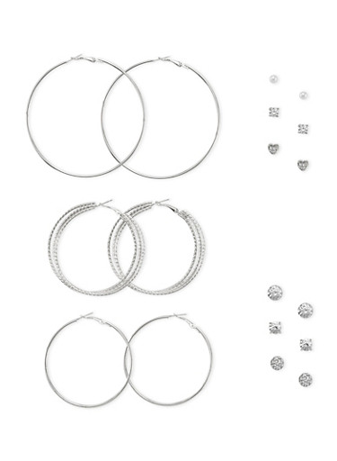 Set of 9 Stud and Hoop Earrings,SILVER,large