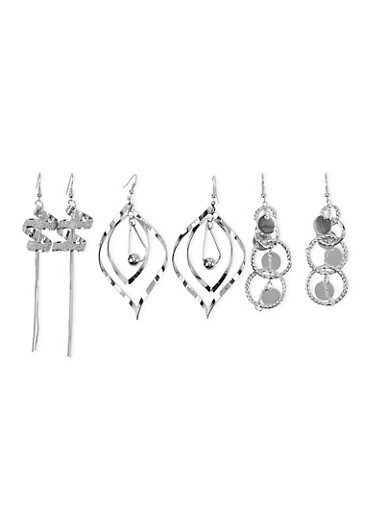 Set of 3 Sculptural Drop Earrings with Glitter Accents,SILVER,large