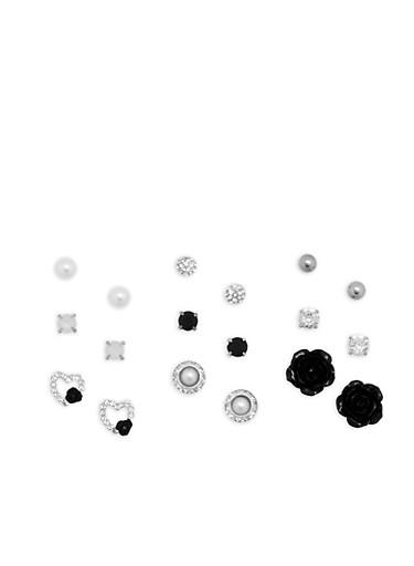 Set of 9 Rose Rhinestone Stud Earrings,SILVER,large