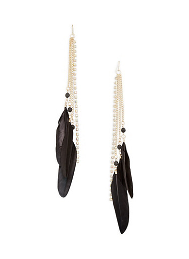 Rhinestone Feather Fish Hook Earrings,BLACK,large
