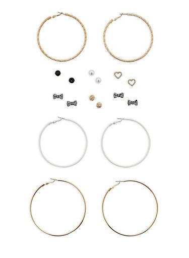 Set of 3 Large Hoop Earrings and 6 Rhinestone Stud Earrings,WHITE,large