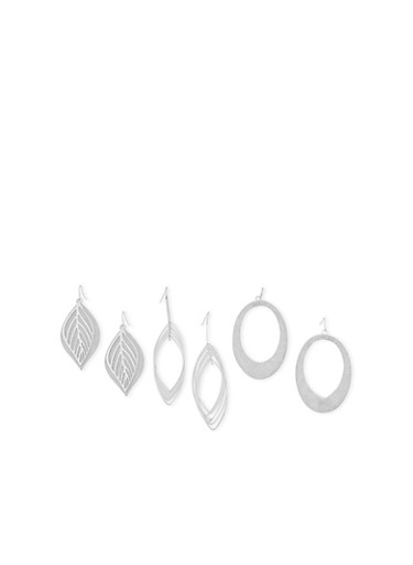 Set of 3 Glitter and Textured Drop Earrings,SILVER,large