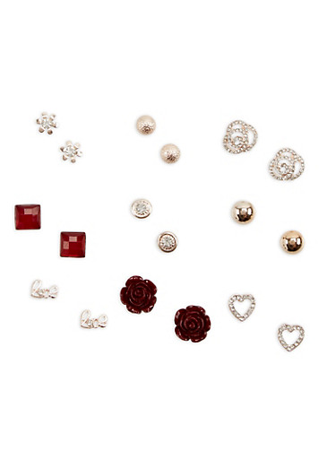 Set of 9 Metallic and Rhinestone Stud Earrings,ROSE,large