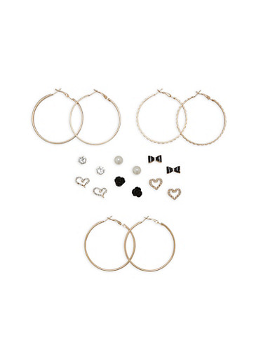 Set of 9 Metallic Textured Hoop and Stud Earrings,GOLD,large