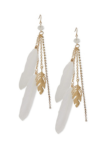 Chandelier Earrings with Feathers and Feather Charms,IVORY,large