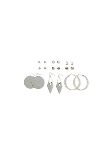 Set of 9 Assorted Stud and Hoop Earrings Set,SILVER,large