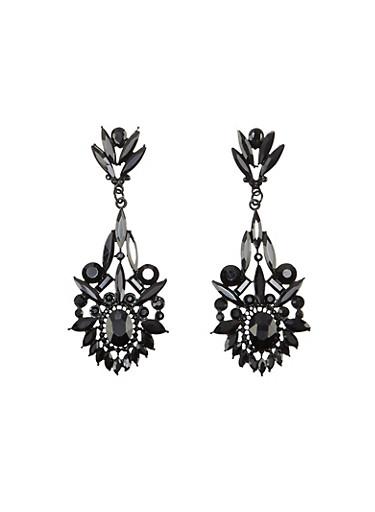 Gemstone Drop Earrings,BLACK,large