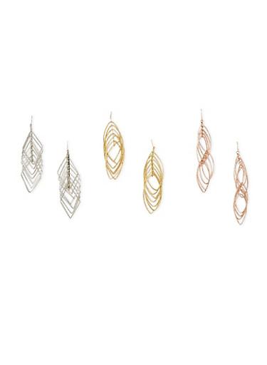 Set of 3 Layered Geo Drop Earrings,ROSE,large