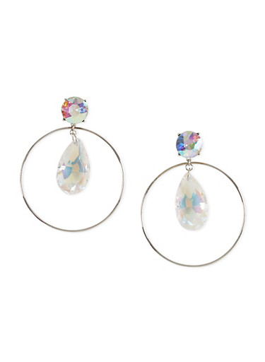Encircled Glass Drop Post Back Earrings,SILVER,large