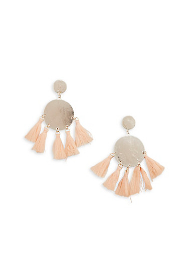 Metallic Disc Tassel Stud Earrings,ROSE,large