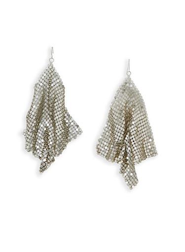 Large Metallic Mesh Kite Earrings,SILVER,large