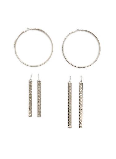 Metal Mesh Hoop and Stick Earrings,SILVER,large