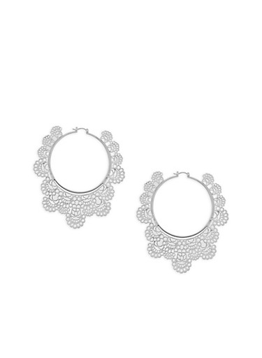 Large Laser Cut Hoop Earrings,SILVER,large