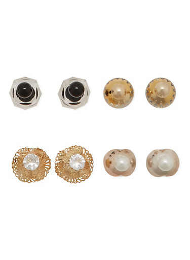 Set of 4 Assorted Front and Back Stud Earrings with Chevron Print,TRITONE (SLVR/GLD/HEMAT),large