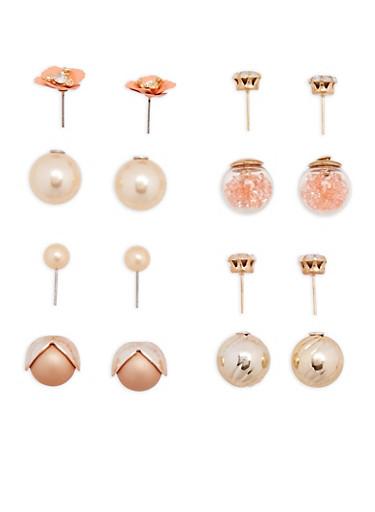 Set of 4 Faux Pearl Floral Reversible Stud Earrings,MULTI COLOR,large