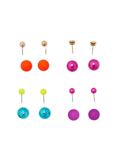 Multi Color Ball Reversible Earrings,MULTI NEON,large