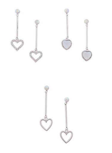 Set of 3 Metallic Rhinestone Heart Stick Drop Earrings,SILVER,large