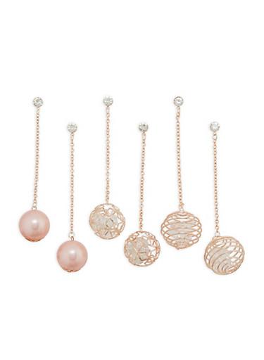 Rhinestone Chain Drop Ball Earrings,ROSE,large