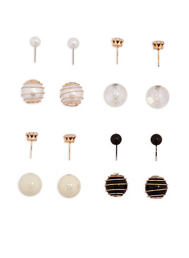 Set of 4 Coil Reversible Ball Stud Earrings,MULTI COLOR,large