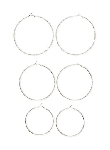 Set of 3 Etched Hoop Earrings,SILVER,large