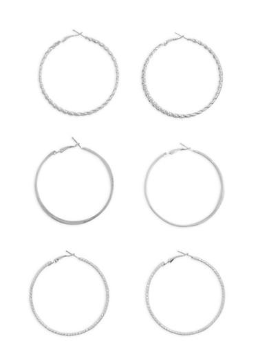 Textured Hoop Glitter Earrings Set of 3,SILVER,large