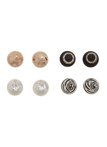 Set of 4 Assorted Front and Back Earrings with Zebra Print,TRITONE (SLVR/GLD/HEMAT),large