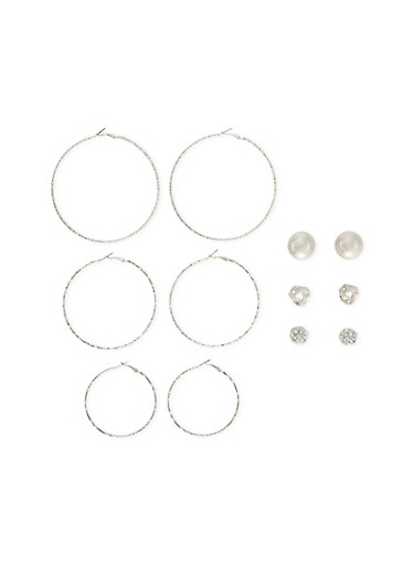 Set of 6 Stud and Hoop Earrings,SILVER,large