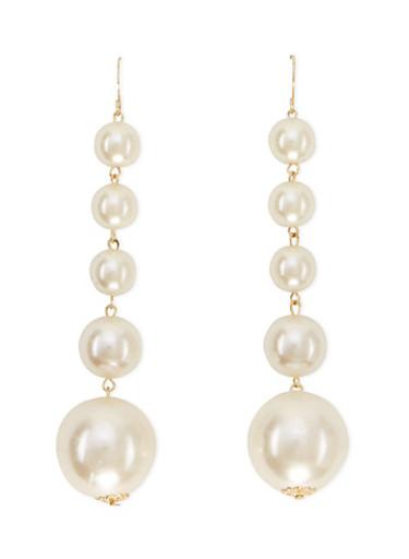Faux Pearl Drop Earrings,IVORY,large