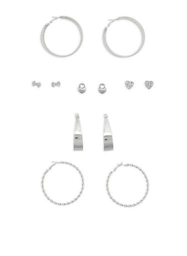 Rhinestone Stud and Twisted Hoop Earrings,SILVER,large