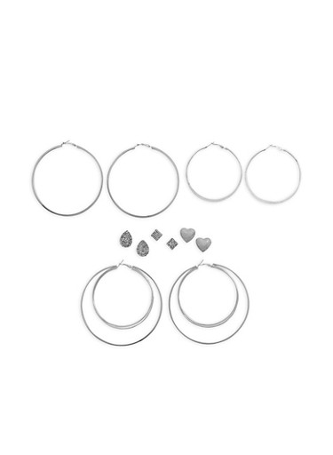 Set of 6 Rhinestone Stud and Large Textuered Hoop Earrings,SILVER,large