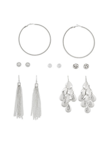 Knot Rhinestone Stud and Drop Earrings,SILVER,large