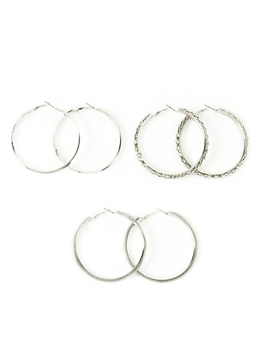 Set of 3 Assorted Glitter And Tube Hoop Earrings,SILVER,large